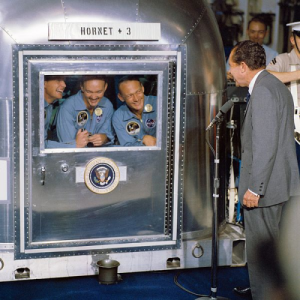 The crew of Apollo 11, being visited by President Nixon upon their return on Earth.