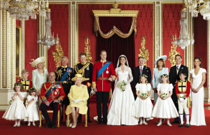 Portrait of The British Royal Family during the wedding ceremony of Prince William and Catherine Middleton