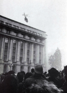 Nicolae Ceausescu fleeing away by helicopter.