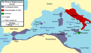 Map of the The Mediterranean Sea in 264BC. Rome is displayed in red, Carthage in purple and Syracuse in green