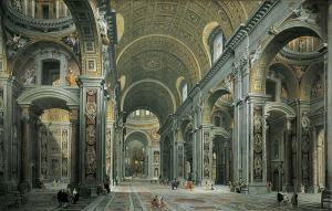 Saint Peter's Basilica in Rome; Interior painted by Giovanni Paolo Panini.