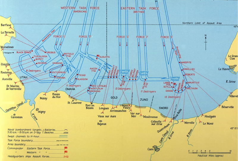"""Naval Bombardments on D-Day"". Licensed under Public Domain."